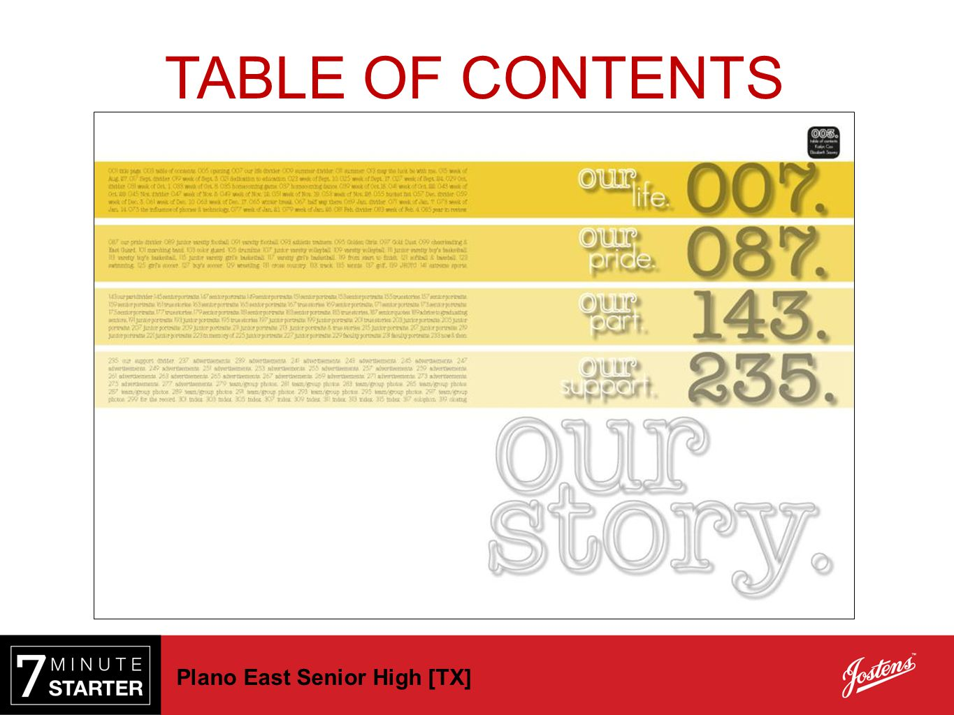 TABLE OF CONTENTS Plano East Senior High [TX]